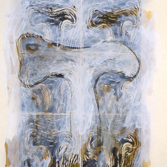 Acrilico sobre papel impreso, Naranja  78.5x58 cm