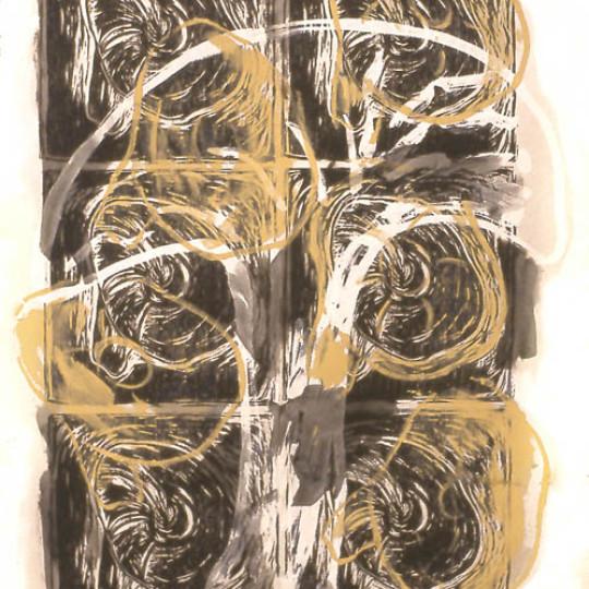 Acrilico sobre papel impreso, Amarillo 78.5x58 cm
