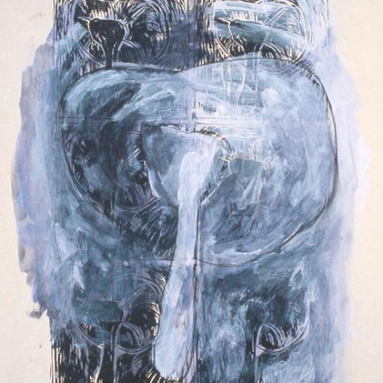 Acrilico sobre papel impreso, Azul  78.5x58 cm