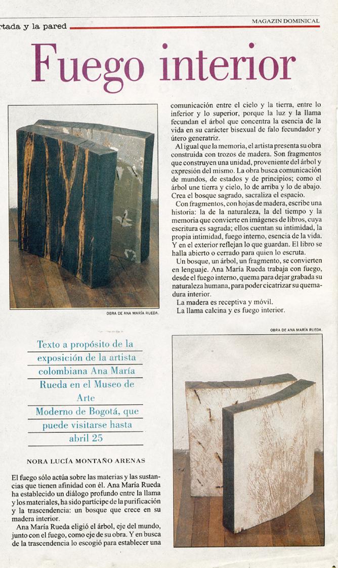 Texto FUEGO Nora Montaño Magazin Dominical.El Espectador